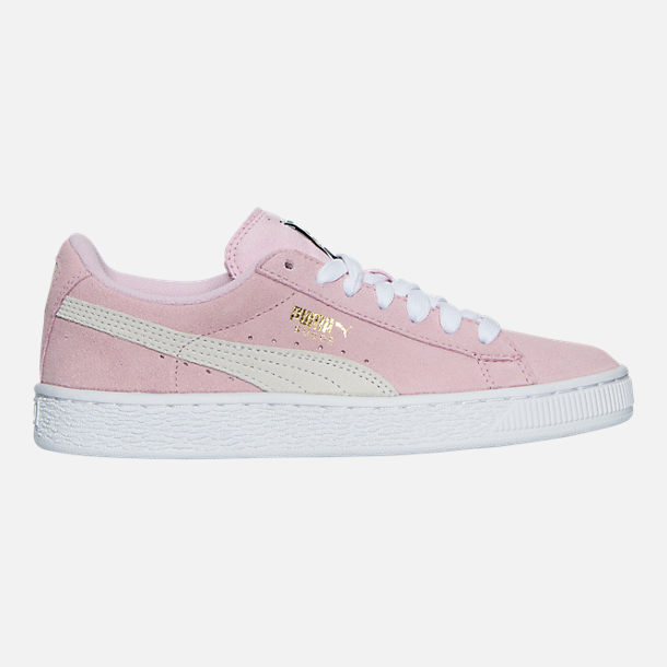 f16f3d7f85e038 Right view of Girls  Big Kids  Puma Suede Casual Shoes in Pink Lady