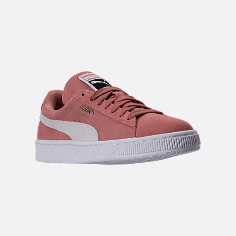 Three Quarter view of Women s Puma Suede Classic Casual Shoes in Cameo  Brown White 724953668