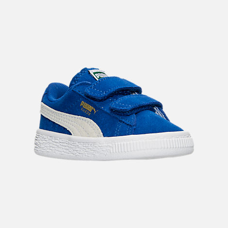 Three Quarter view of Boys' Toddler Puma Suede Casual Shoes in Snorkel Blue