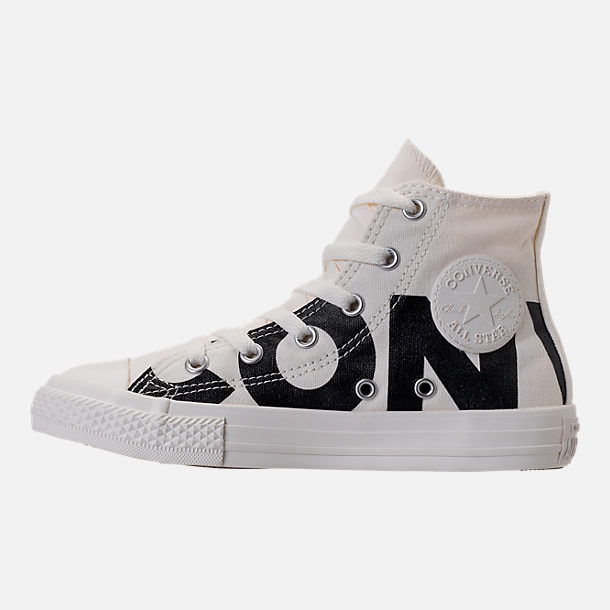 Left view of Boys' Preschool Converse Chuck Taylor All Star Wordmark High Top Casual Sneakers in Wordmark Black/Natural