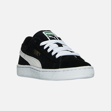 Three Quarter view of Boys' Little Kids' Puma Suede Casual Shoes in Black/White