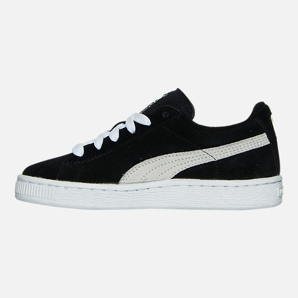 Left view of Boys' Little Kids' Puma Suede Casual Shoes in Black/White