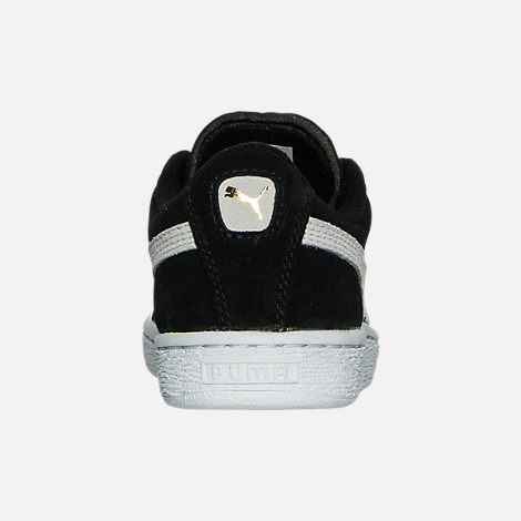 Back view of Boys' Little Kids' Puma Suede Casual Shoes in Black/White