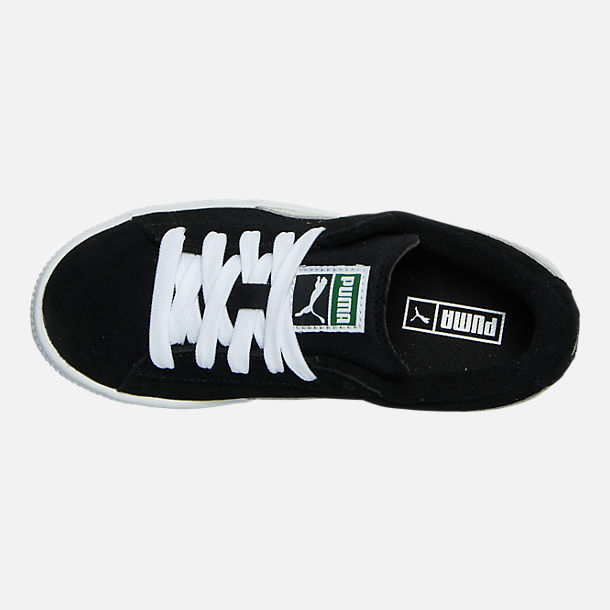 Top view of Boys' Little Kids' Puma Suede Casual Shoes in Black/White