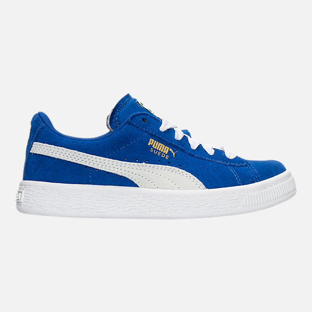 Right view of Boys' Little Kids' Puma Suede Casual Shoes in Snorkel Blue