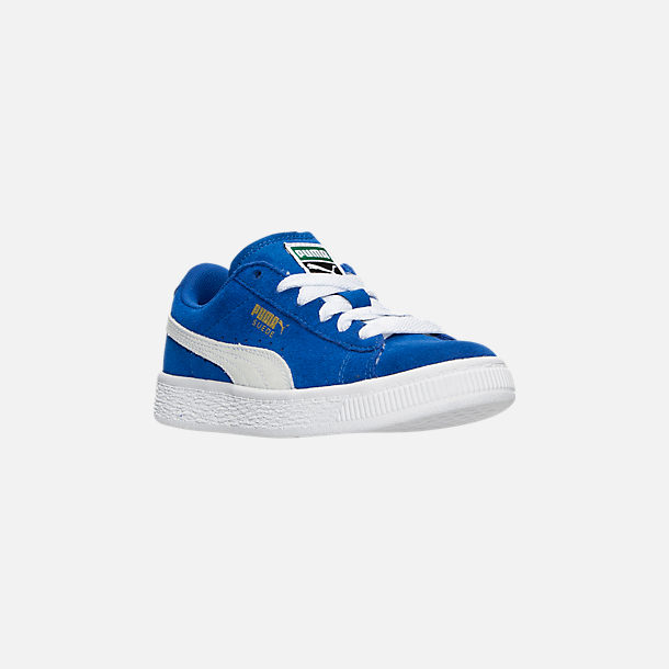 Three Quarter view of Boys' Little Kids' Puma Suede Casual Shoes in Snorkel Blue