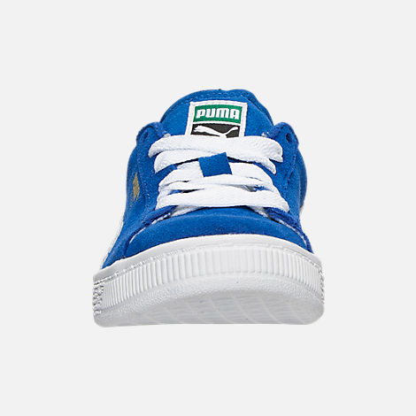 Front view of Boys' Little Kids' Puma Suede Casual Shoes in Snorkel Blue