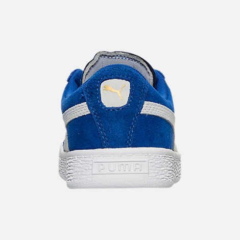 Back view of Boys' Little Kids' Puma Suede Casual Shoes in Snorkel Blue