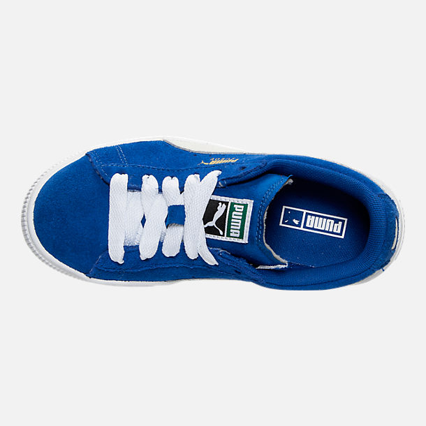 Top view of Boys' Little Kids' Puma Suede Casual Shoes in Snorkel Blue