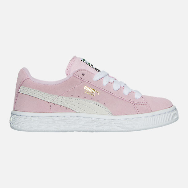 Right view of Girls' Little Kids' Puma Suede Casual Shoes in Pink