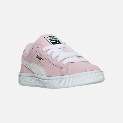 Three Quarter view of Girls' Little Kids' Puma Suede Casual Shoes in Pink