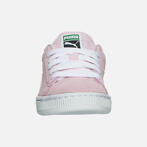 Front view of Girls' Little Kids' Puma Suede Casual Shoes in Pink