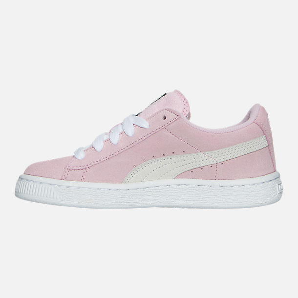 Left view of Girls' Little Kids' Puma Suede Casual Shoes in Pink