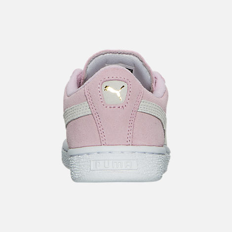 Back view of Girls' Little Kids' Puma Suede Casual Shoes in Pink