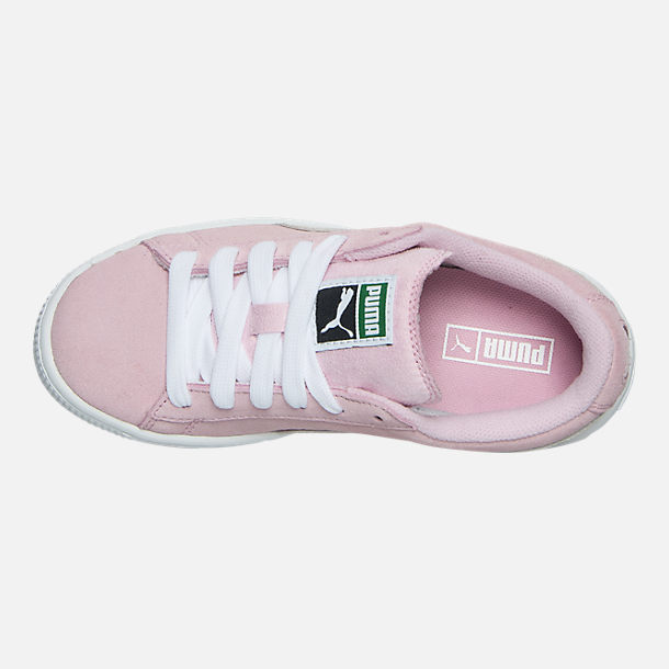 Top view of Girls' Little Kids' Puma Suede Casual Shoes in Pink