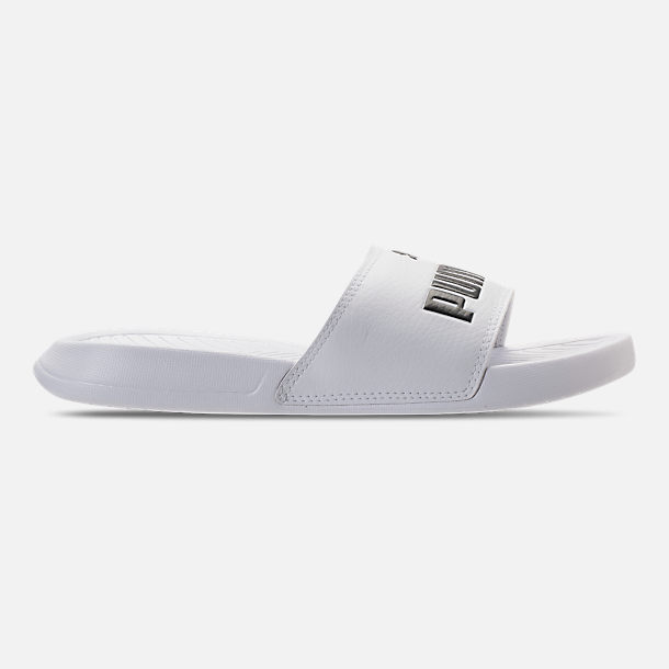 Right view of Womens Puma Popcat Slide Sandals in Puma White Puma Black