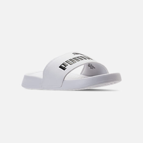 Three Quarter view of Women's Puma Popcat Slide Sandals in Puma White/Puma Black