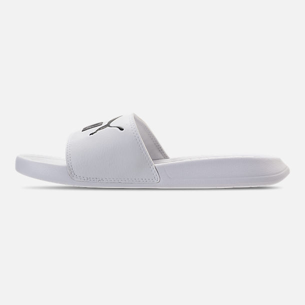Left view of Women's Puma Popcat Slide Sandals in Puma White/Puma Black