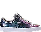 Girls' Grade School Puma Basket Classic Hologram Casual Shoes