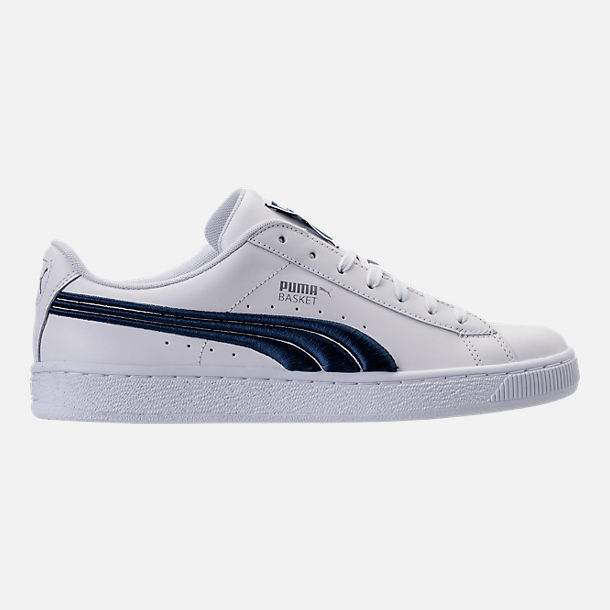 Right view of Men's Puma Basket Classic Badge Casual Shoes in White/Blue