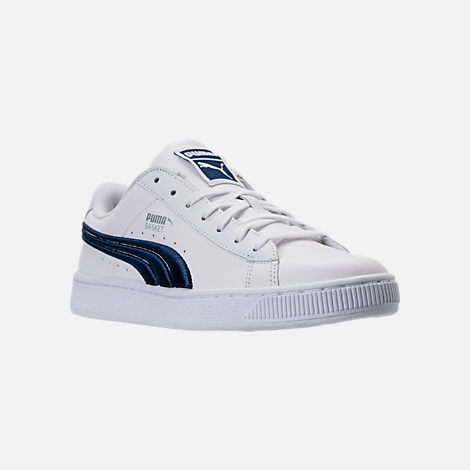 Three Quarter view of Men's Puma Basket Classic Badge Casual Shoes in White/Blue