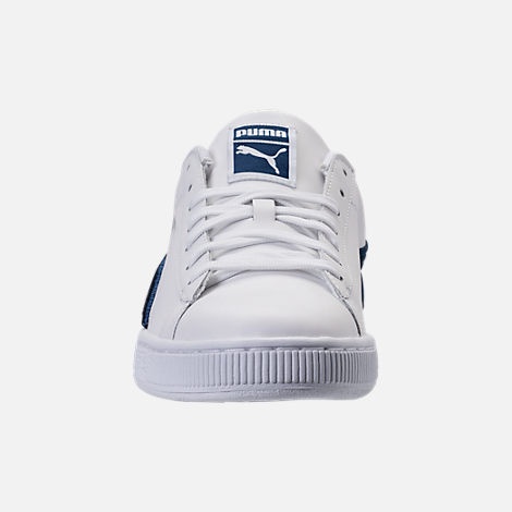 Front view of Men's Puma Basket Classic Badge Casual Shoes in White/Blue