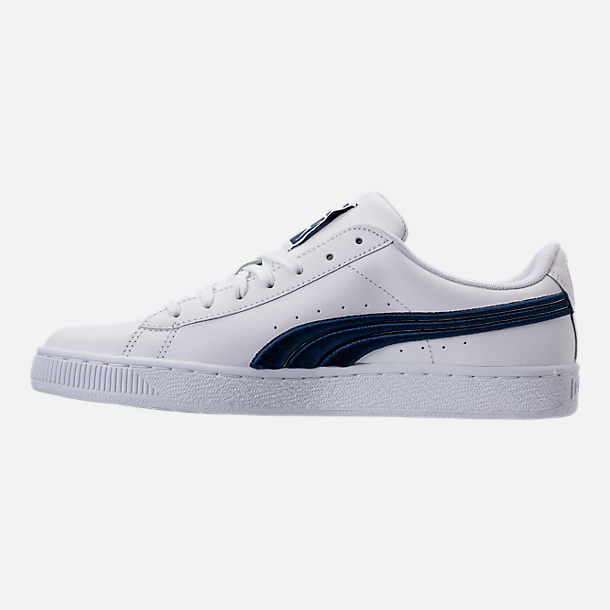 Left view of Men's Puma Basket Classic Badge Casual Shoes in White/Blue
