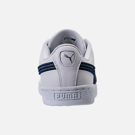 Back view of Men's Puma Basket Classic Badge Casual Shoes in White/Blue