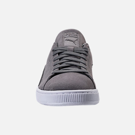 Front view of Men's Puma Suede Classic Badge Casual Shoes in Quiet Shade