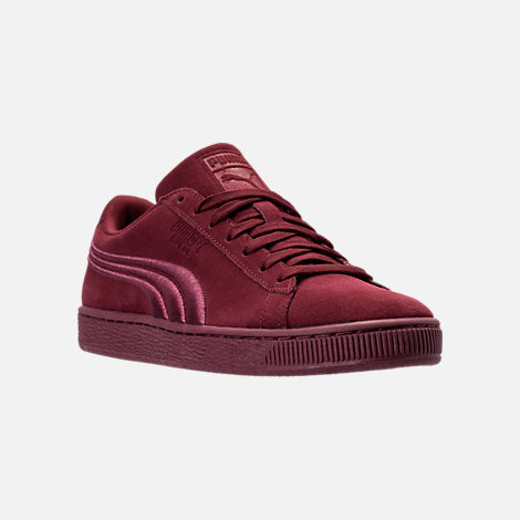 Three Quarter view of Men's Puma Suede Classic Badge Casual Shoes in Cabernet