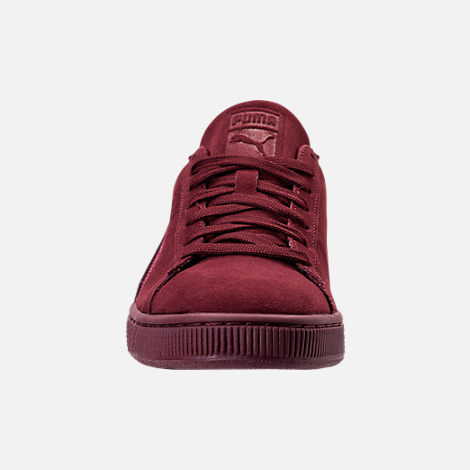 Front view of Men's Puma Suede Classic Badge Casual Shoes in Cabernet