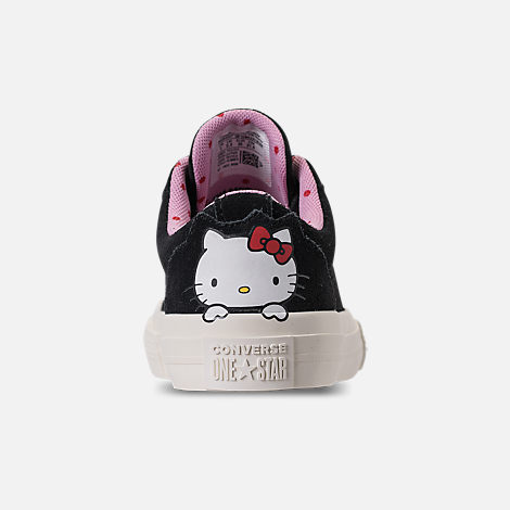 Back view of Girls' Preschool Converse One Star Ox Hello Kitty Casual Shoes in Black/Prism Pink/Egret