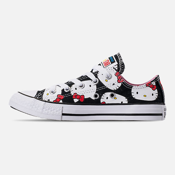 Left view of Girls' Little Kids' Converse Chuck Taylor All Star Hello Kitty Ox Casual Shoes in Black/Pink Prism - Hello Kitty
