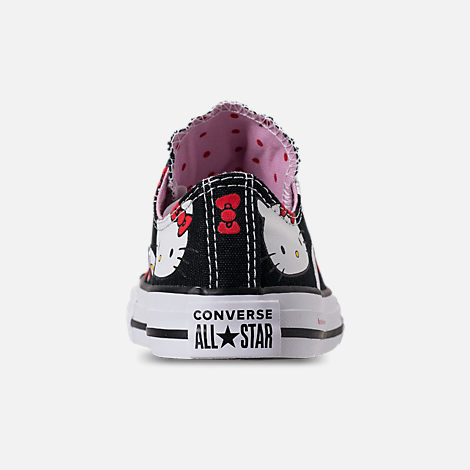 Back view of Girls' Little Kids' Converse Chuck Taylor All Star Hello Kitty Ox Casual Shoes in Black/Pink Prism - Hello Kitty