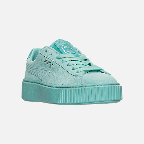 Three Quarter view of Women's Puma Suede Platform Reset Casual Shoes