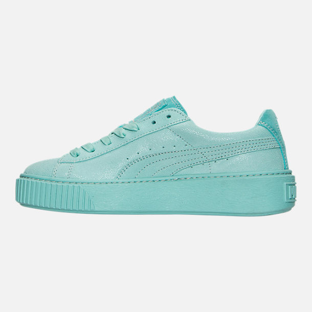 Left view of Women's Puma Suede Platform Reset Casual Shoes
