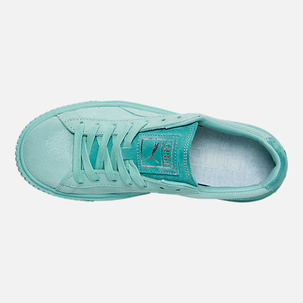 Top view of Women's Puma Suede Platform Reset Casual Shoes