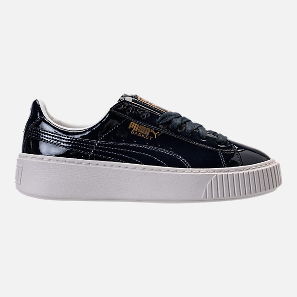 Right view of Women's Puma Basket Platform Casual Shoes in Peacoat/Peacoat