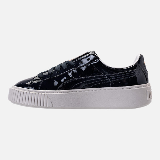 Left view of Women's Puma Basket Platform Casual Shoes in Peacoat/Peacoat