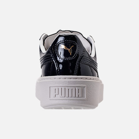 Back view of Women's Puma Basket Platform Casual Shoes in Peacoat/Peacoat