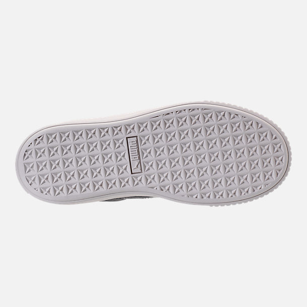 Bottom view of Women's Puma Basket Platform Casual Shoes in Peacoat/Peacoat