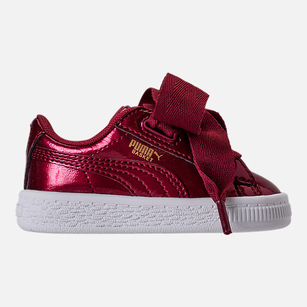 Right view of Girls' Toddler Puma Basket Heart Glam Casual Shoes in Tibetan Red/Tibetan Red