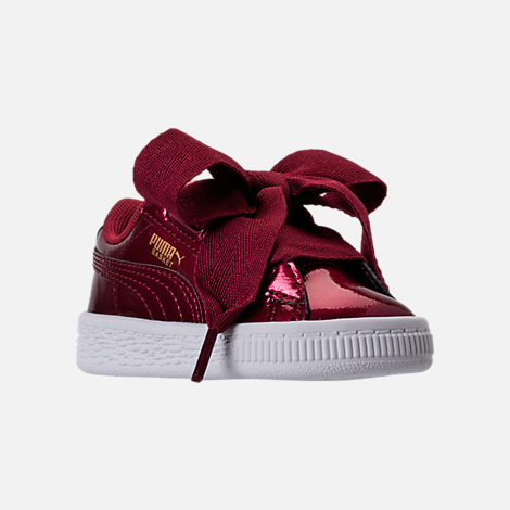 Three Quarter view of Girls' Toddler Puma Basket Heart Glam Casual Shoes in Tibetan Red/Tibetan Red