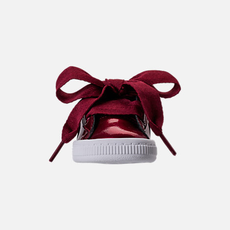 Front view of Girls' Toddler Puma Basket Heart Glam Casual Shoes in Tibetan Red/Tibetan Red