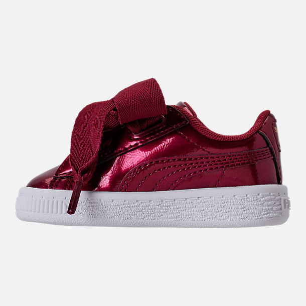 Left view of Girls' Toddler Puma Basket Heart Glam Casual Shoes in Tibetan Red/Tibetan Red