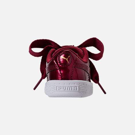 Back view of Girls' Toddler Puma Basket Heart Glam Casual Shoes in Tibetan Red/Tibetan Red