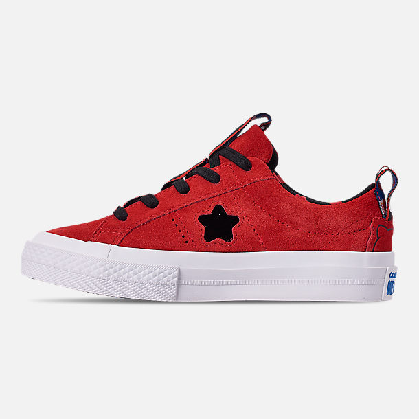 Left view of Girls' Little Kids' Converse x Hello Kitty One Star Casual Shoes in Fiery Red/Black