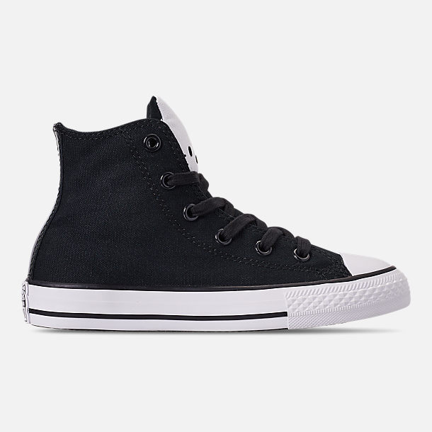 Right view of Girls' Little Kids' Converse Chuck Taylor High Top Casual Shoes in Black/Fiery Red/White