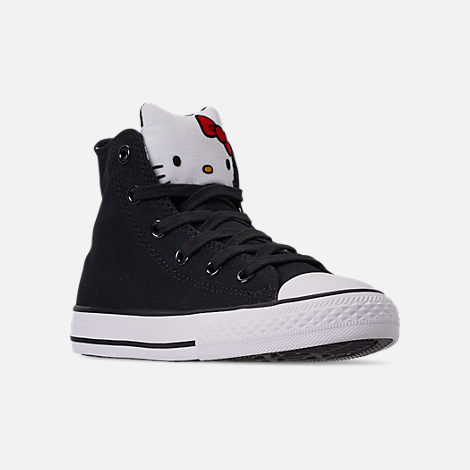 Three Quarter view of Girls' Little Kids' Converse Chuck Taylor High Top Casual Shoes in Black/Fiery Red/White