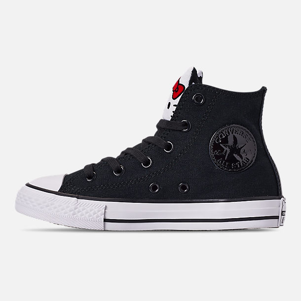 Left view of Girls' Little Kids' Converse Chuck Taylor High Top Casual Shoes in Black/Fiery Red/White